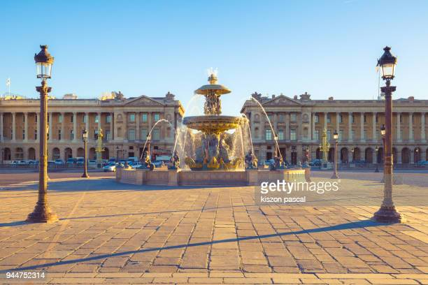 concorde place with fountain in paris in day , france - fountain stock pictures, royalty-free photos & images