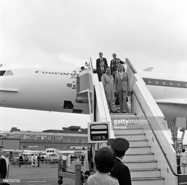 Concorde returns to Heathrow after world sales tour Pictured front left to right Brian Trubshaw BAC's Chief Test Pilot and Michael Heseltine Minister...