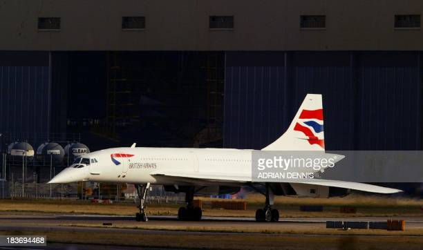 A Concorde waits to take off for a special flight around The Bay of Biscay at London's Heathrow airport 24 October 2003 Concorde is being retired...
