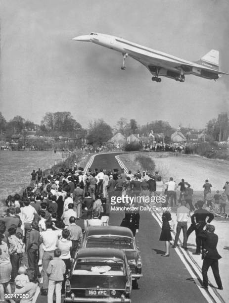 Concorde's maiden flight, Fairford, Gloucestershire, 10 April 1969. 'Britain's Concorde 002 made a 21 minute flight into the seventies yesterday and...