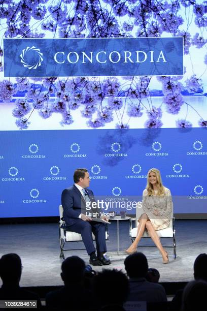 Concordia Co-Founder, Chairman and CEO Matthew Swift and Advisor to the President Ivanka Trump speak onstage during the 2018 Concordia Annual Summit...
