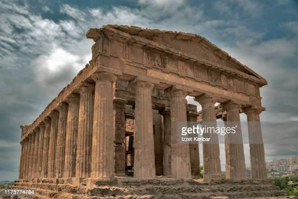 close image concordia antique greek temple