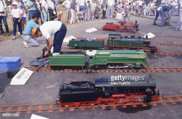 Concours de mini train à vapeur au Japon en septembre 1987.