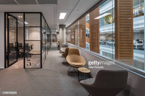 Concourse between meeting rooms and atrium YOOX NetAPorter Offices London United Kingdom Architect Grimshaw 2017