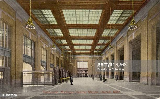 Concourse of Michigan Central Station showing train sheds in circa 1913 in Detroit, Michigan.