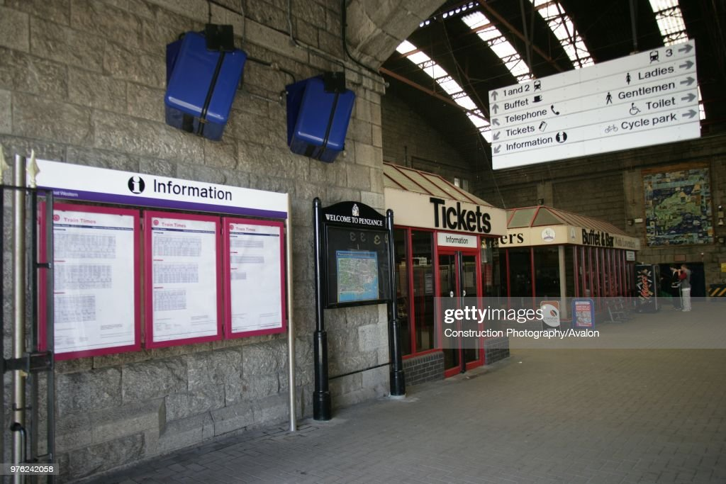 concourse of penzance station cornwall with timetables and