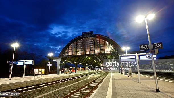 Concourse of Train Station of Gera seen behind tracks and platforms on April 13 2008 in Gera Germany