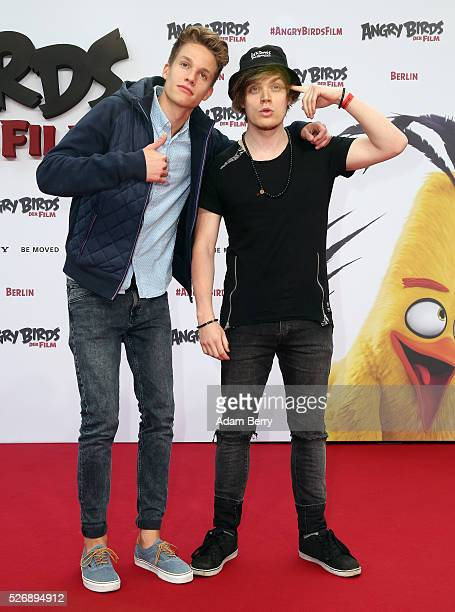 ConCrafter and iBlali attend the premiere of 'Angry Birds Der Film' on May 01 2016 in Berlin Berlin