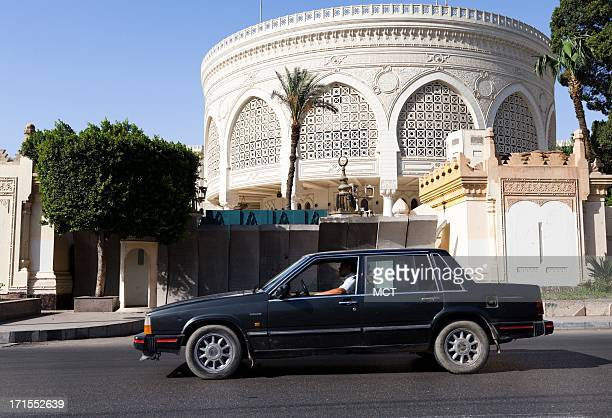Concrete barricades block the entrance to the Presidential Palace in Heliopolis Egypt as official prepare for protests planned for this weekend