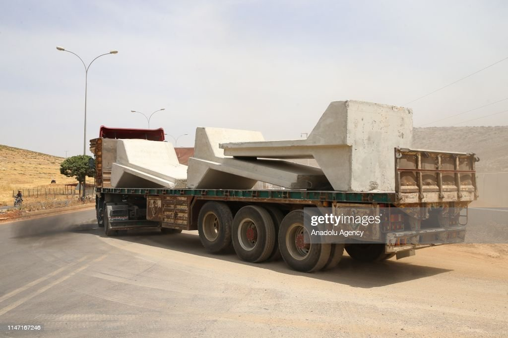 Concrete blocks deployed at Turkish Armed Forces observation points in Idlib : News Photo