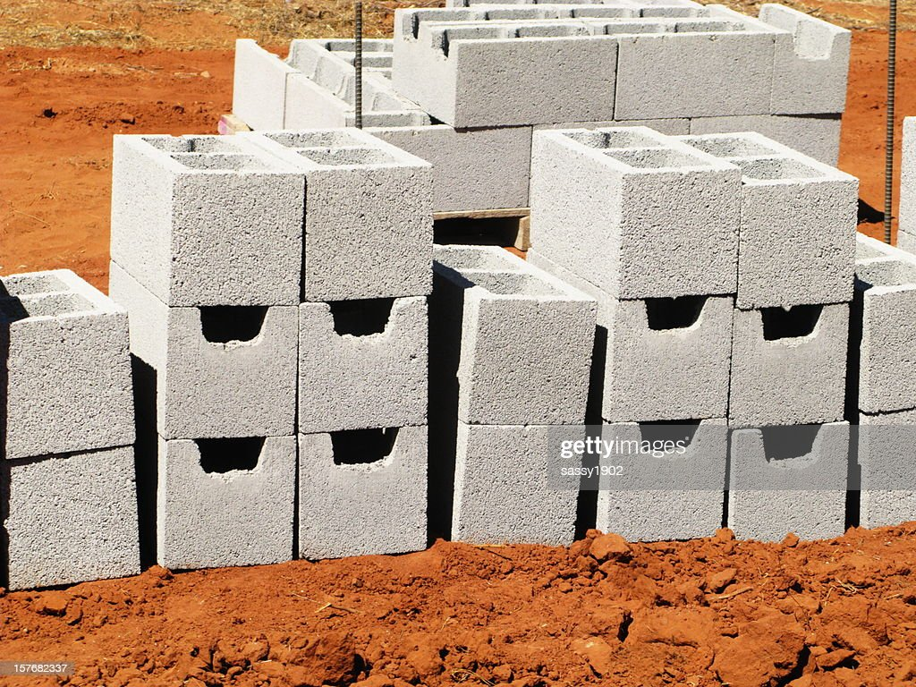 Concrete blocks new construction stock photo getty images for Cinder block house construction
