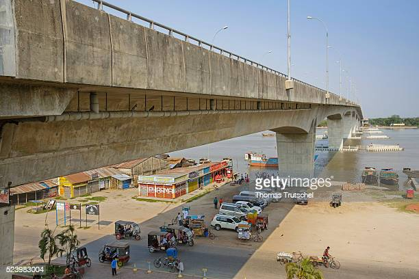 A concrete bridge stands at Rupsa River in the city of Khulna in the south west of Bangladesh on April 11 2016 in Khulna Bangladesh