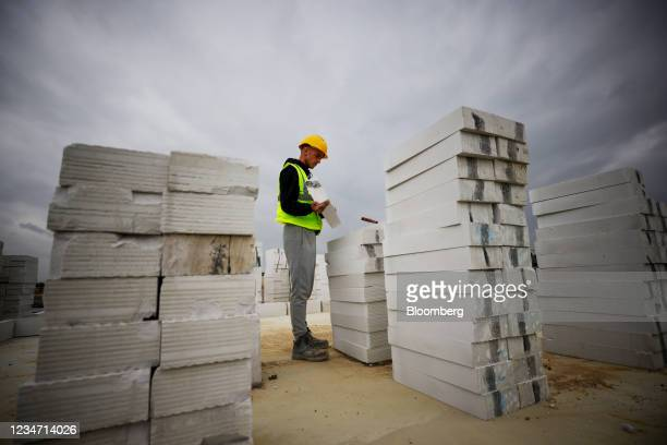 Concrete building slabs at a Persimmon Plc residential property construction site in Chelmsford, U.K., on Monday, Aug. 16, 2021. Persimmon reports...