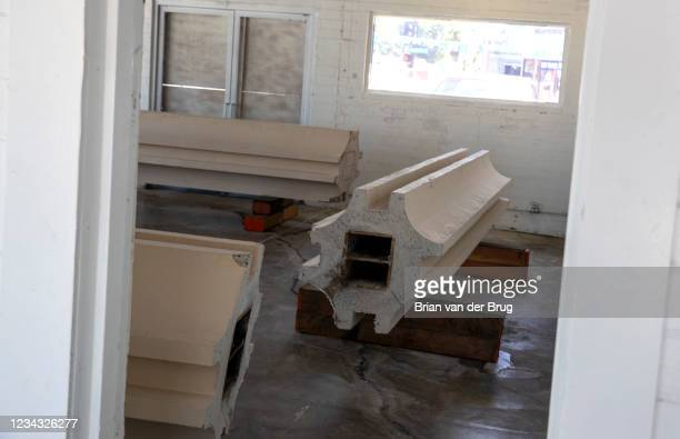 Concrete columns, remnants of the now demolished LACMA buildings, on Wednesday, July 28, 2021 in Pasadena, CA. Ferrer has preserved fragments of...