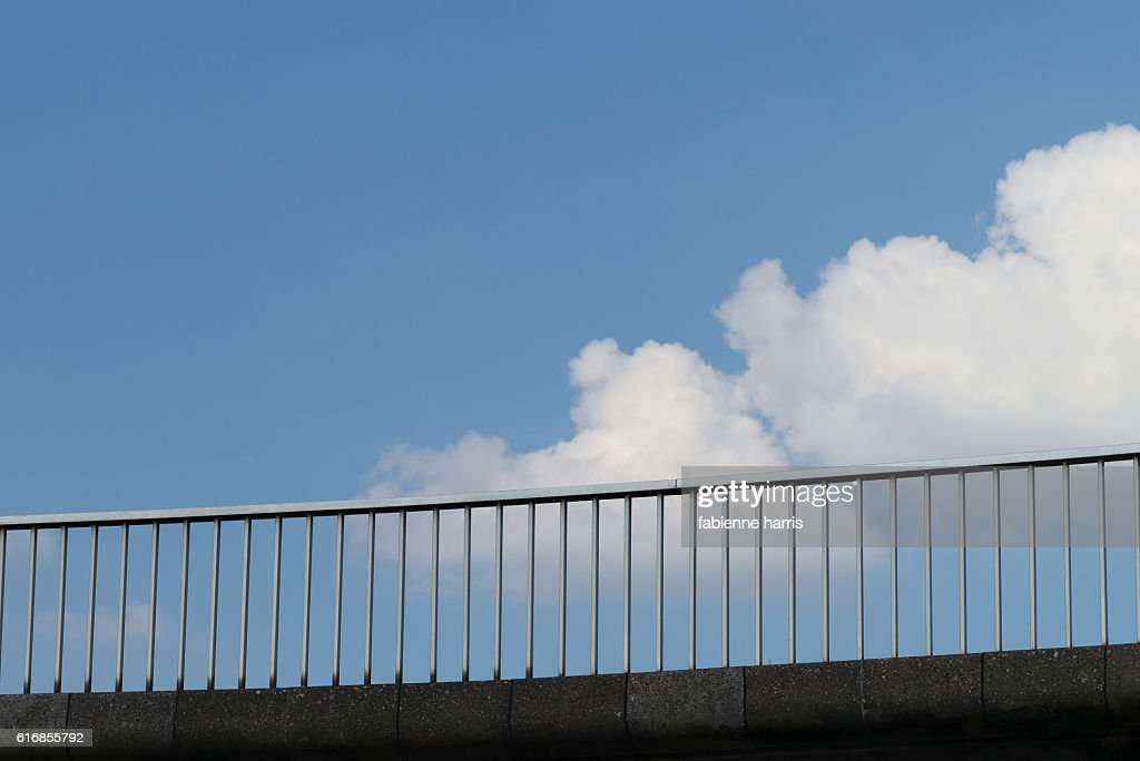 Concrete footbridge in the sky : Stock Photo