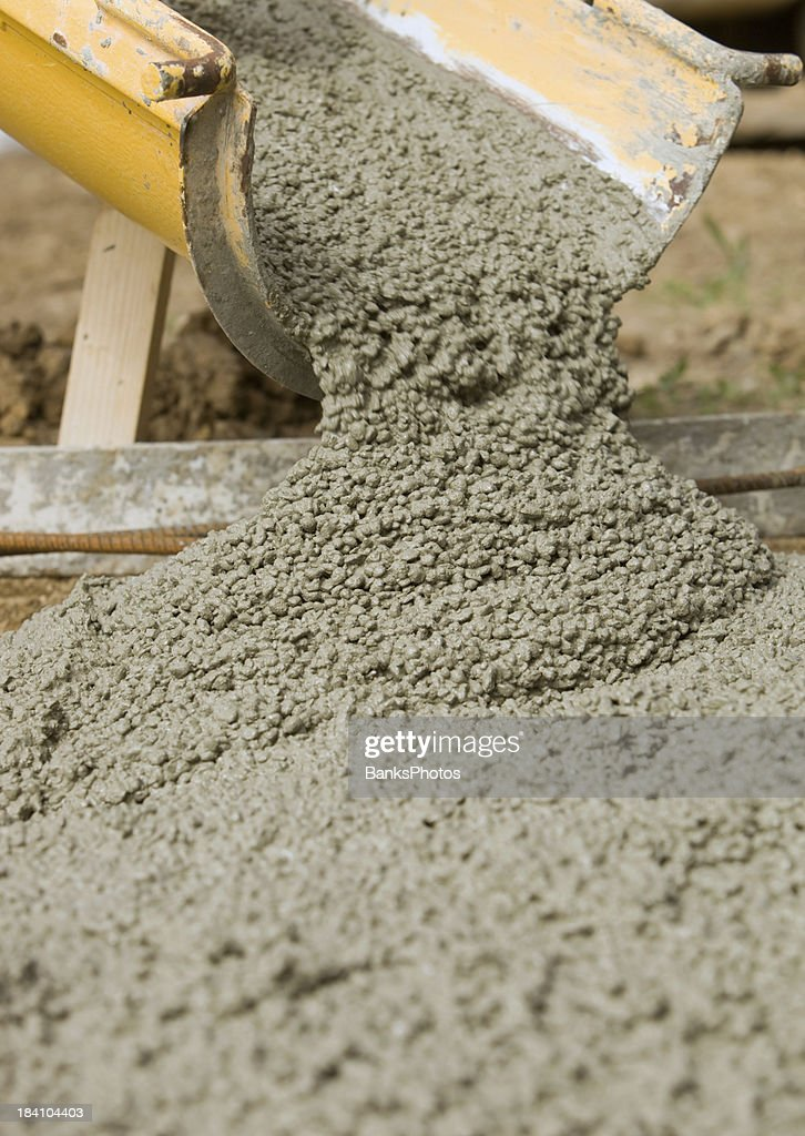 Concrete from Cement Mixer Trough for Sidewalk : Stock Photo