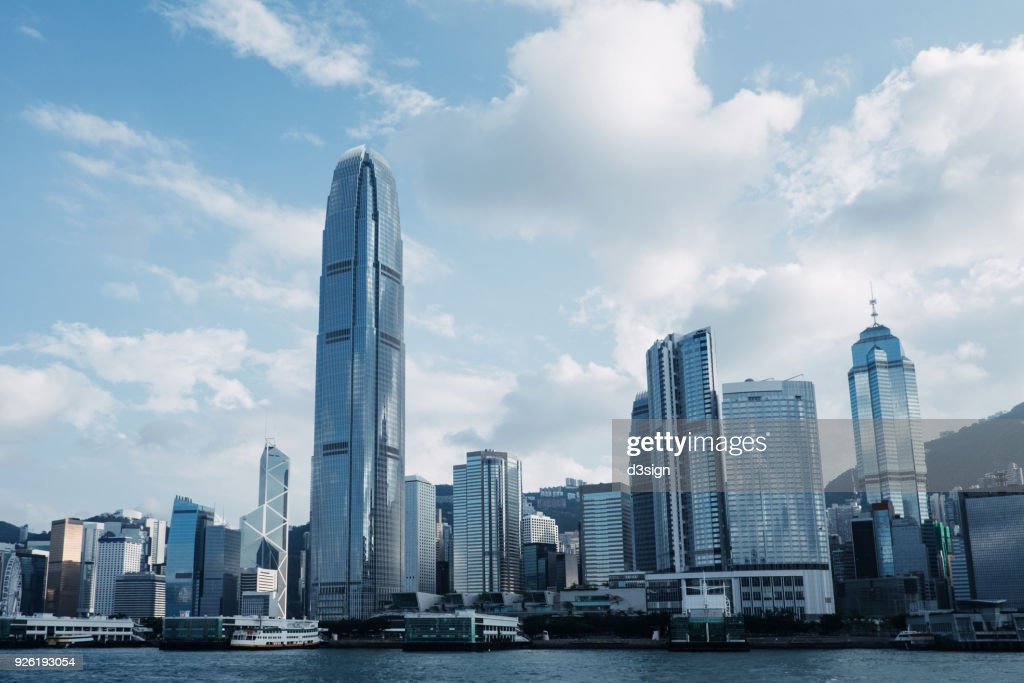 Concrete jungle of Hong Kong cityscape and modern skyscrapers in Central business district : Stock Photo