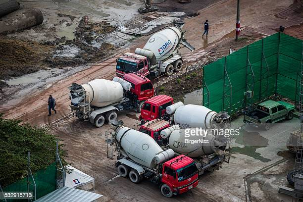 Concrete mixer trucks on building site in Bangkok, Thailand