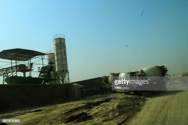 Concrete mixture plant at a construction site in Noida Extension