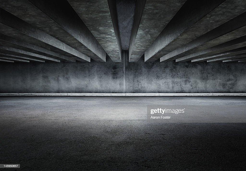 Concrete parking lot : Stock Photo