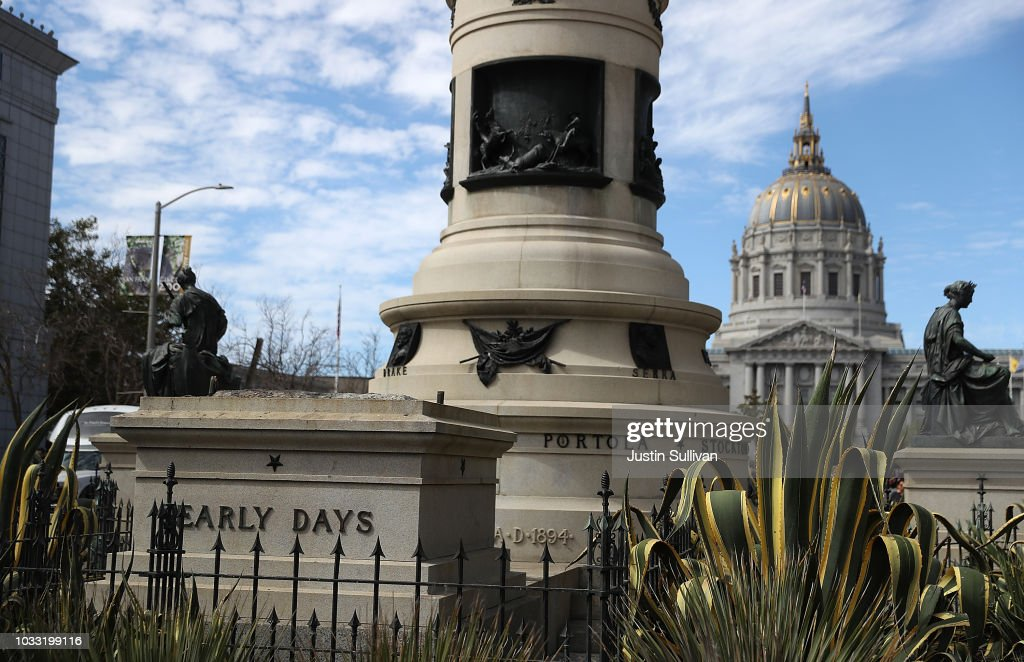 A concrete pedestal reamains where a statue known as 'Early Days' that depicted a Native American at the feet of a Catholic missionary and Spanish cowboy used to stand on Fulton Street as part of the Pioneer Monument on September 14, 2018 in San Francisco, California. The San Francisco Board of Appeals voted unanimously on Wednesday to take down a controversial statue that has been called racist by critics and potrays Native Americans as inferior. The statue was removed today before dawn.
