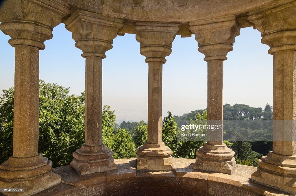 Concrete Pillars With Beautiful View In The Castle Of