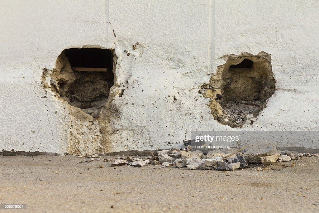 concrete pit holes : Stock Photo