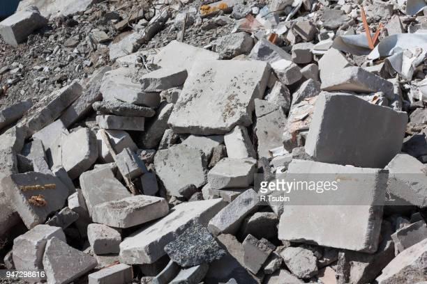 concrete rubble debris on construction site - rubble stock photos and pictures
