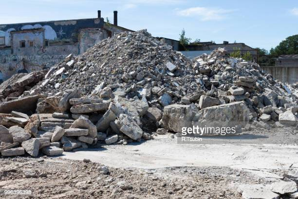 concrete rubble debris on construction site - ruined stock pictures, royalty-free photos & images