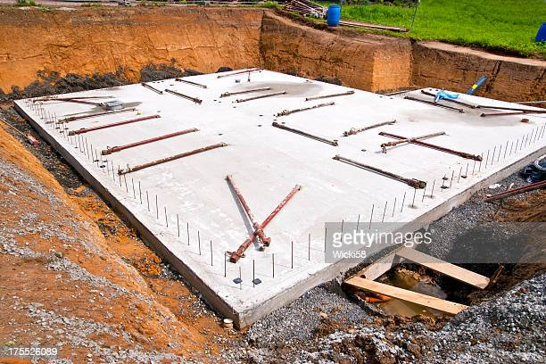 concrete slab for a new home - stability stock pictures, royalty-free photos & images