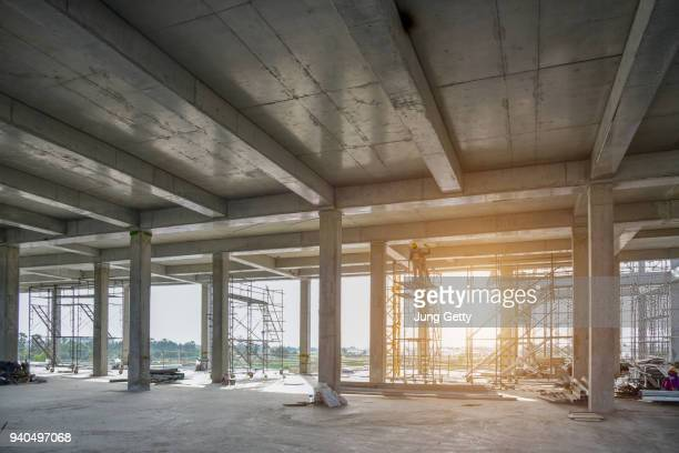 concrete structure construction site no body for background - construction site stock pictures, royalty-free photos & images