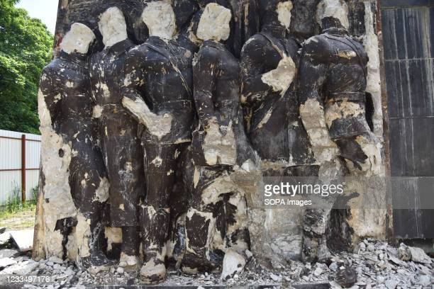 Concrete structures after the dismantling of one of the bas-reliefs on the Monument of Glory in Lviv. Work on the liquidation of the Soviet complex...