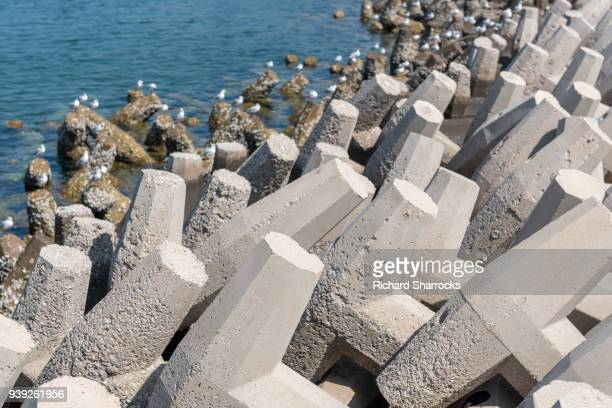 Concrete tetrapod coastal defence structure