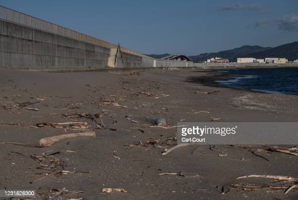 Concrete tsunami wall lines a beach in Ishinomaki where 3173 people were killed when it was struck by the 2011 tsunami and earthquake, on March 10,...