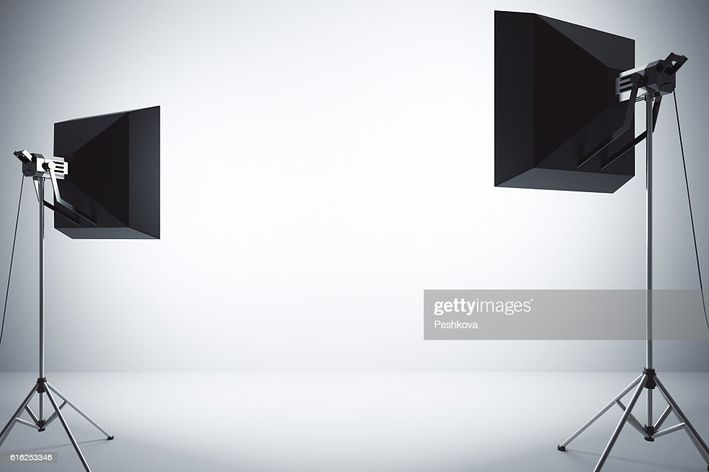 Concrete wall with lighting : Stock Photo
