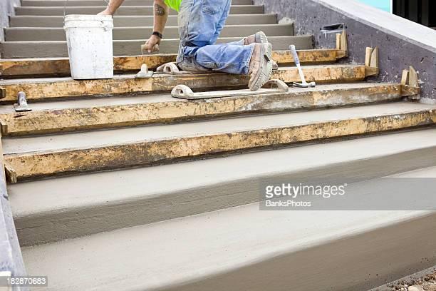 Beton Arbeiter Troweling neue Schritte