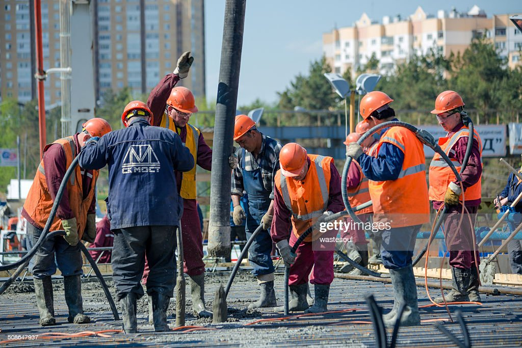 Concreting of the superstructure of the bridge : Stock Photo