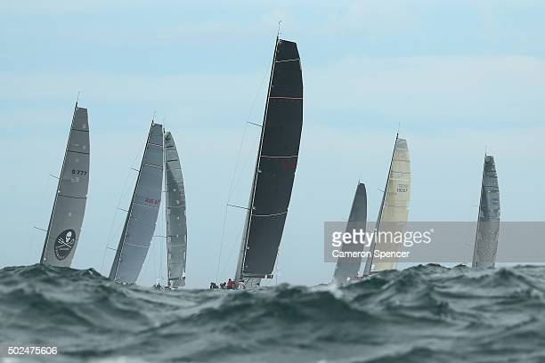 Concubine and competitors race out to sea during the 2015 Sydney to Hobart on December 26 2015 in Sydney Australia