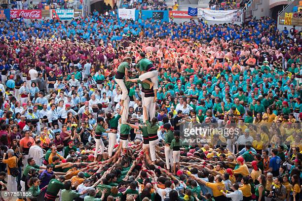 Concurs de Castells in Tarragona a biannual championship where all human castle groups compete in one weekend Saturday October 4th of 2014 Catalonia...