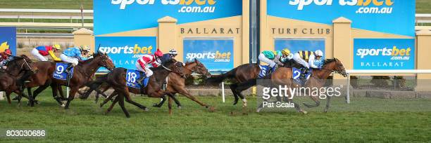 Condamine ridden by Dwayne Dunn wins the Whitford Liquid Waste Maiden Plate at SportsbetBallarat Racecourse on June 29 2017 in Ballarat Australia