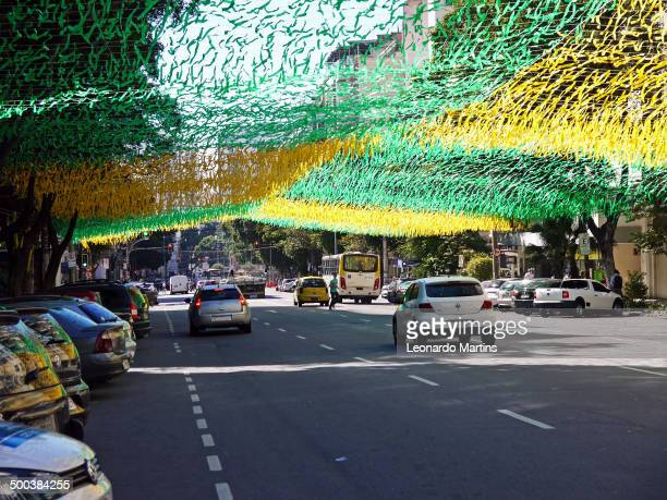 Conde de Bonfim Street ornamented with the Brazilian colors to the World Cup at Tijuca district.