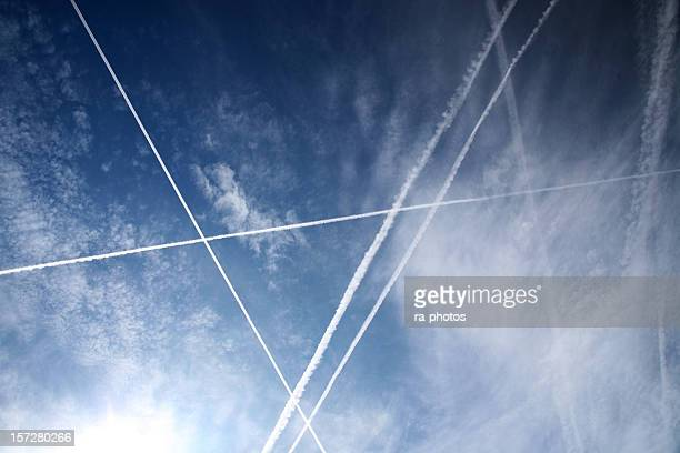 Condensation trails in the sky