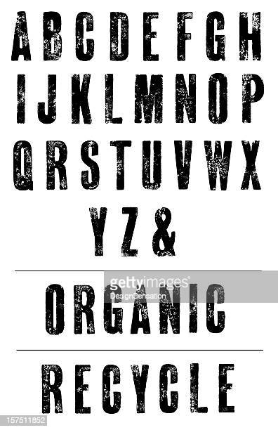 condensed letterpress poster font - hand printed alphabet - alphabet stock pictures, royalty-free photos & images