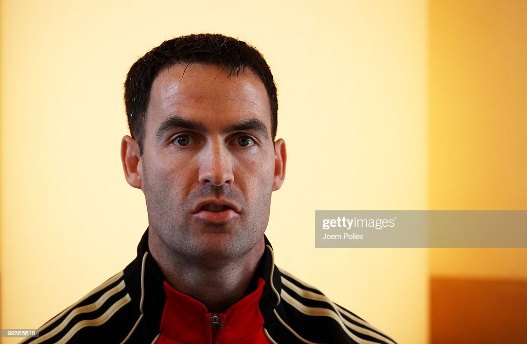 Condition coach Shad Forsythe of Germany talks to the media during a press conference of the German National Football team at Verdura Golf and Spa Resort is pictured on May 15, 2010 in Sciacca, Italy.