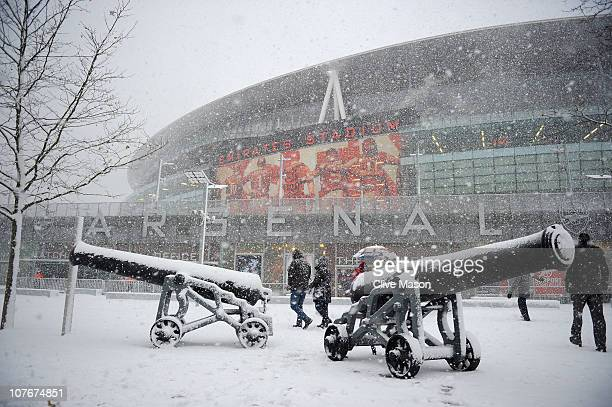 Conditions in North London worsen as the match is postponed before the Barclays Premier League match between Arsenal and Stoke City at the Emirates...