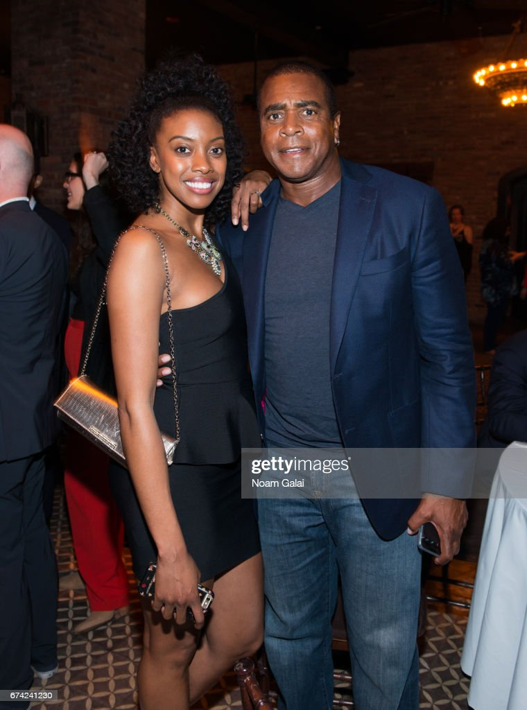 Condola Rashad and Ahmad Rashad attend the after party for Lucas Hnath's 'A Doll's House, Part 2' opening night starring Laurie Metcalf and Chris Cooper at Golden Theatre on April 27, 2017 in New York City.