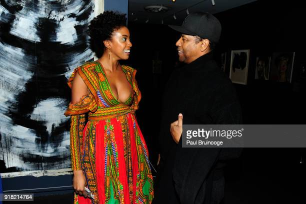 Condola Rashad and Denzel Washington attends The Cinema Society with Ravage Wines Synchrony host a screening of Marvel Studios' 'Black Panther' at...