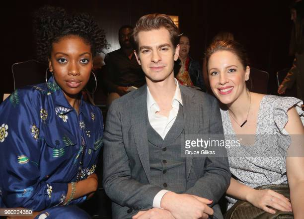 Condola Rashad Andrew Garfield and Jessie Mueller pose at The 2018 Drama League Awards at The Marriott Marquis Times Square on May 18 2018 in New...