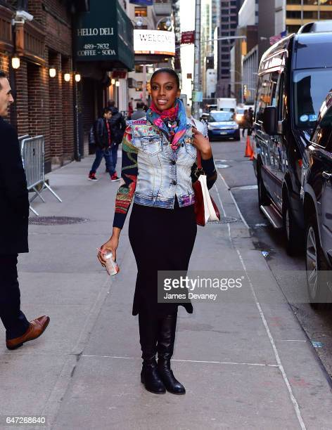 Condola Rashad leaves The Late Show With Stephen Colbert at Ed Sullivan Theater on March 2 2017 in New York City