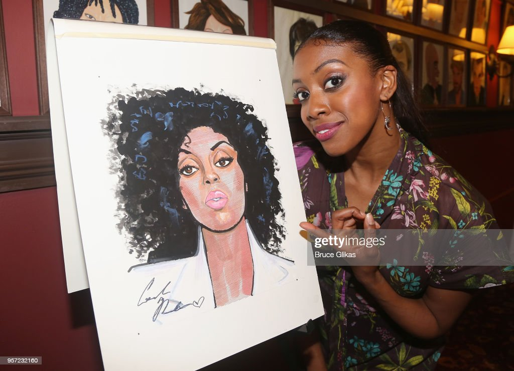 Condola Rashad poses as she recieves her caricature for her role in the MTC play 'St. Joan' at Sardis on May 10, 2018 in New York City.